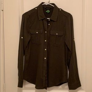 Banana Republic! Md. Olive green button front!